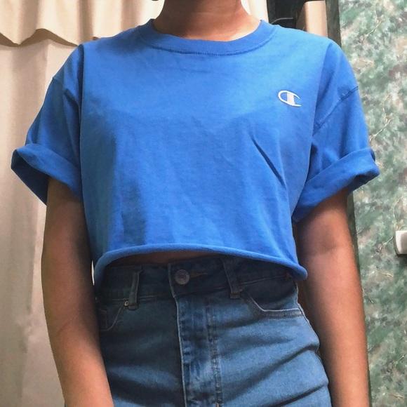 7ca3f9b5 Champion Tops - Vintage Blue Champion Crop Top - T shirt